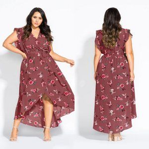City Chic Faux Wrap Secret Floral Maxi Dress